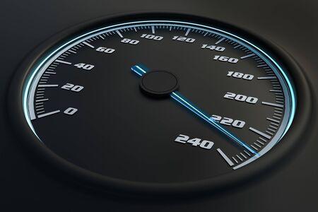 Blauwe snelheidsmeter in auto op dashboard. 3D teruggegeven illustratie.
