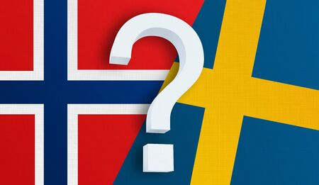 Relationship between the Norway and the Sweden. Two flags of countries on background. 3D rendered illustration.