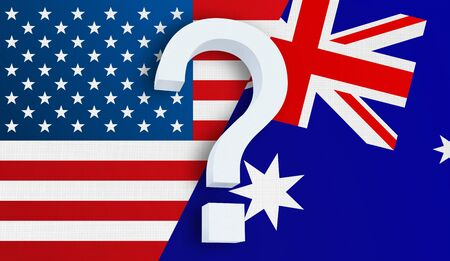 Relationship between the USA and the Australia. Two flags of countries on background. 3D rendered illustration.