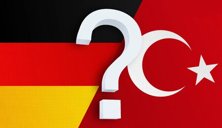 Relationship between the Germany and the Turkey. Two flags of countries on background. 3D rendered illustration.