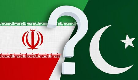 Relationship between the Iran and the Pakistan. Two flags of countries on background. 3D rendered illustration.