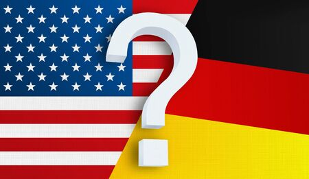 Relationship between the USA and the Germany. Two flags of countries on background. 3D rendered illustration.