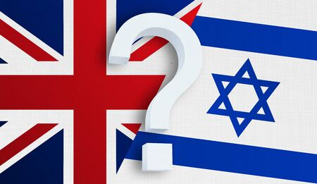 Relationship between the United Kingdom and the Israel. Two flags of countries on background. 3D rendered illustration.