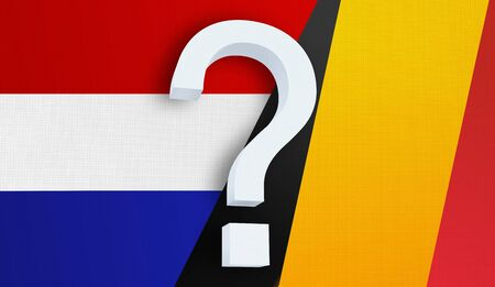 Relationship between the Netherlands and the Belgium. Two flags of countries on background. 3D rendered illustration.