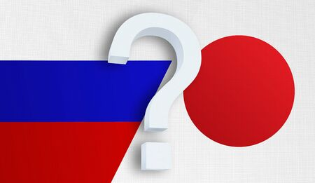 Relationship between the Russia and the Japan. Two flags of countries on background. 3D rendered illustration.