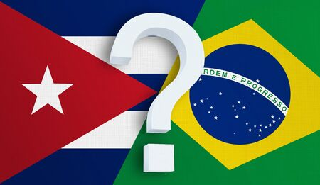 Relationship between the Cuba and the Brazil. Two flags of countries on background. 3D rendered illustration.
