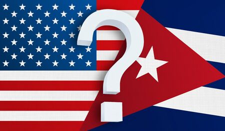 Relationship between the USA and the Cuba. Two flags of countries on background. 3D rendered illustration. 写真素材