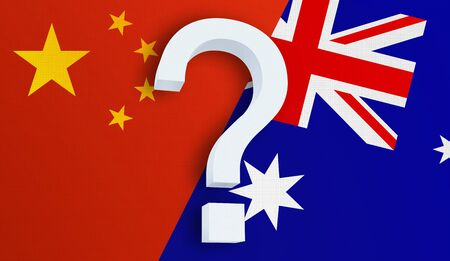 Relationship between the China and the Australia. Two flags of countries on background. 3D rendered illustration.