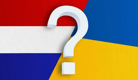 Relationship between the Netherlands and the Ukraine. Two flags of countries on background. 3D rendered illustration.