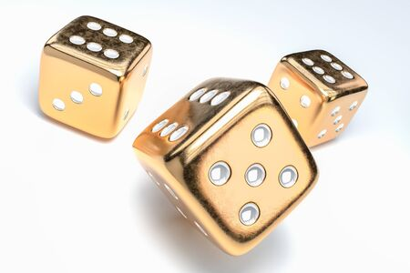 Set of golden dice with white dots isolated on white background. 3D rendered illustration.