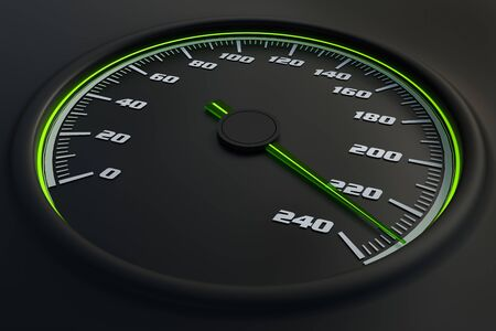 Green speedometer in car on dashboard. 3D rendered illustration.