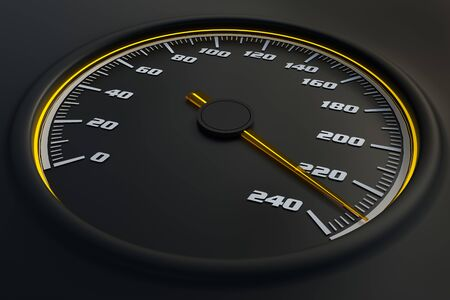 Yellow speedometer in car on dashboard. 3D rendered illustration. Stok Fotoğraf