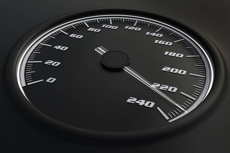 White speedometer in car on dashboard. 3D rendered illustration. Stok Fotoğraf