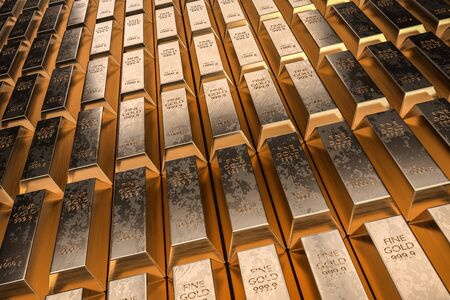 Gold bars or ingot - financial success and investment concept. 3D rendered illustration. Zdjęcie Seryjne - 133458129