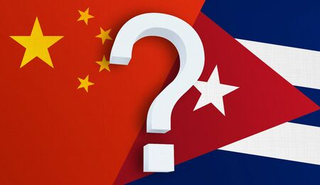 Relationship between the China and the Cuba. Two flags of countries on background. 3D rendered illustration.