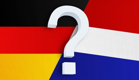 Relationship between the Germany and the Netherlands. Two flags of countries on background. 3D rendered illustration.