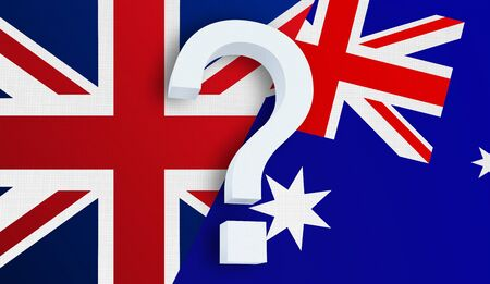 Relationship between the United Kingdom and the Australia. Two flags of countries on background. 3D rendered illustration.