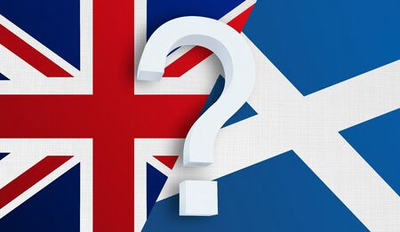 Relationship between the United Kingdom and the Scotland. Two flags of countries on background. 3D rendered illustration.