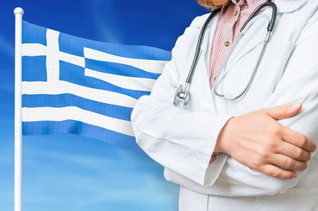 Medical system of health care in the Greece. 3D rendered illustration.