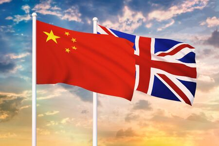 Relationship between the China and the United Kingdom. Two flags of countries on heaven with sunset. 3D rendered illustration.