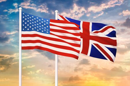 Relationship between the USA and the United Kingdom. Two flags of countries on heaven with sunset. 3D rendered illustration.