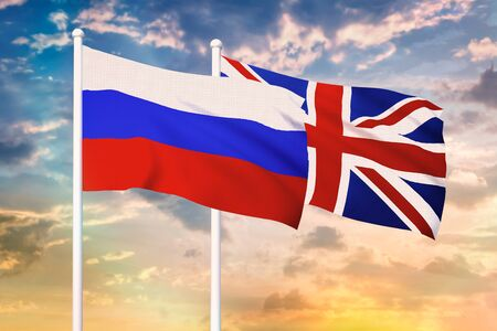 Relationship between the Russia and the United Kingdom. Two flags of countries on heaven with sunset. 3D rendered illustration.