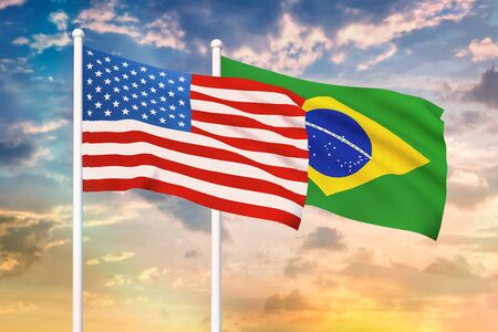 Relationship between the USA and the Brazil. Two flags of countries on heaven with sunset. 3D rendered illustration. Фото со стока