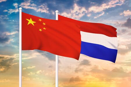 Relationship between the China and the Netherlands. Two flags of countries on heaven with sunset. 3D rendered illustration.