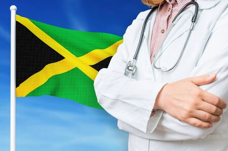 Medical system of health care in the Jamaica. 3D rendered illustration.