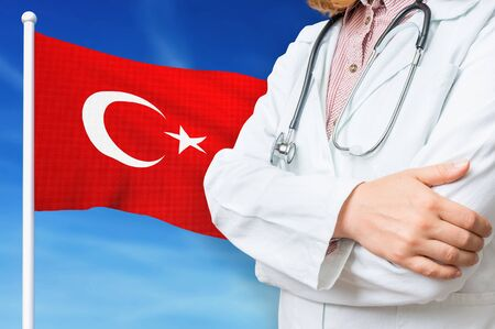 Medical system of health care in the Turkey. 3D rendered illustration.