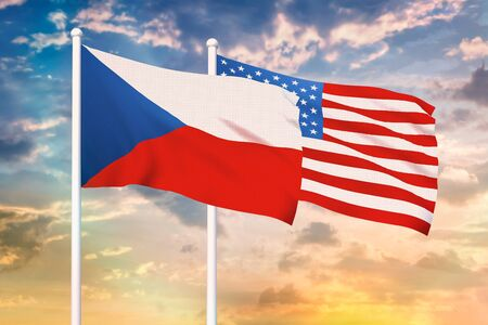 Relationship between the Czech Republic and the USA. Two flags of countries on heaven with sunset. 3D rendered illustration.