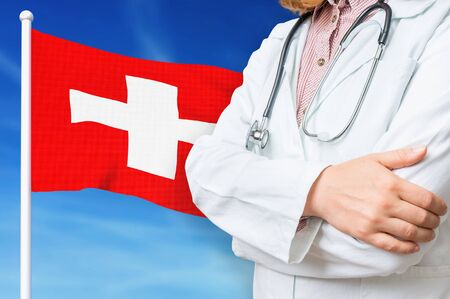 Medical system of health care in the Switzerland. 3D rendered illustration.