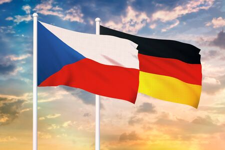 Relationship between the Czech Republic and the Germany. Two flags of countries on heaven with sunset. 3D rendered illustration.