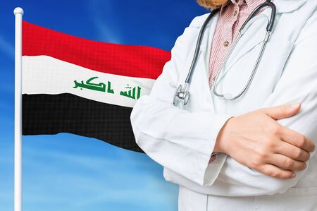Medical system of health care in the Iraq. 3D rendered illustration.