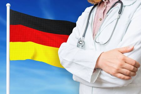 Medical system of health care in the Germany. 3D rendered illustration.
