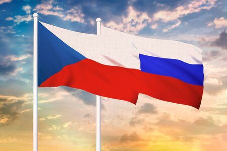 Relationship between the Russia and the Czech Republic. Two flags of countries on heaven with sunset. 3D rendered illustration. Stockfoto