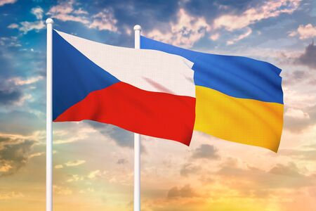 Relationship between the Czech Republic and the Ukraine. Two flags of countries on heaven with sunset. 3D rendered illustration.
