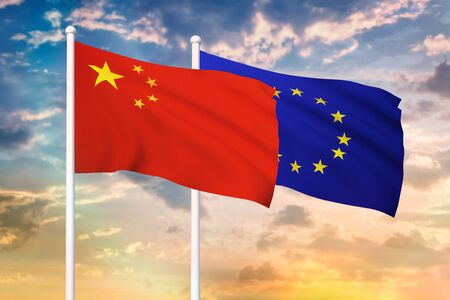 Relationship between the China and the European Union. Two flags of countries on heaven with sunset. 3D rendered illustration.