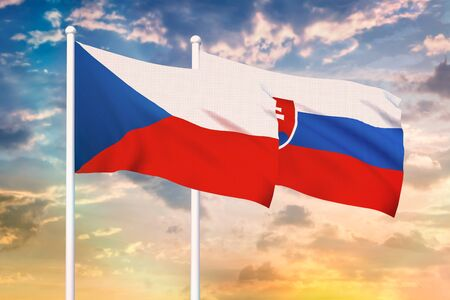 Relationship between the Czech Republic and the Slovakia. Two flags of countries on heaven with sunset. 3D rendered illustration.