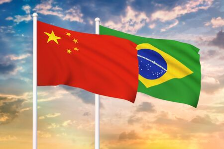 Relationship between the China and the Brazil. Two flags of countries on heaven with sunset. 3D rendered illustration. Фото со стока