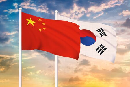 Relationship between the China and the South Korea. Two flags of countries on heaven with sunset. 3D rendered illustration. Stok Fotoğraf - 133458317