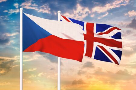 Relationship between the Czech Republic and the United Kingdom. Two flags of countries on heaven with sunset. 3D rendered illustration.