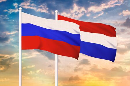 Relationship between the Russia and the Netherlands. Two flags of countries on heaven with sunset. 3D rendered illustration.