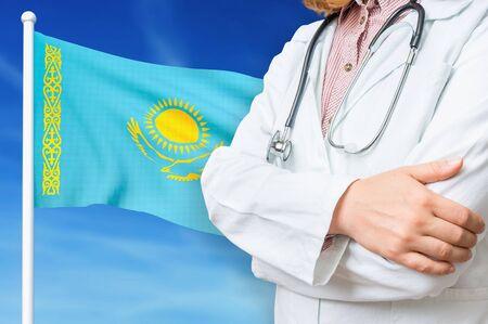 Medical system of health care in the Kazakhstan. 3D rendered illustration.