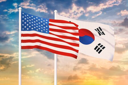 Relationship between the USA and the South Korea. Two flags of countries on heaven with sunset. 3D rendered illustration. Stok Fotoğraf - 133458347