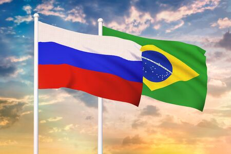 Relationship between the Russia and the Brazil. Two flags of countries on heaven with sunset. 3D rendered illustration. Фото со стока