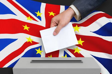 Election in United Kingdom - voting at the ballot box. The hand of man is putting his vote in the ballot box. Brexit. 3D rendered illustration.