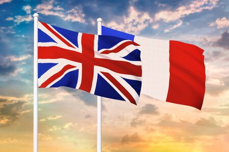 Relationship between the United Kingdom and the France. Two flags of countries on heaven with sunset. 3D rendered illustration.