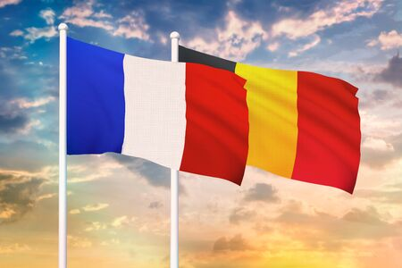 Relationship between the France and the Belgium. Two flags of countries on heaven with sunset. 3D rendered illustration.
