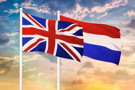 Relationship between the United Kingdom and the Netherlands. Two flags of countries on heaven with sunset. 3D rendered illustration.